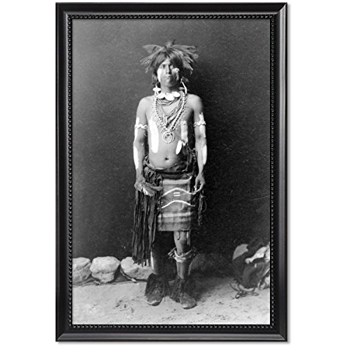 Edward Curtis Snake Dancer In Costumes (Black Wood Framed Print 11x17: Snake Dancer In Costume, 1900)