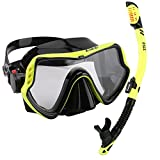 ZMZ DIVE Adult Snorkel Set, Tempered Glass Diving Mask and...