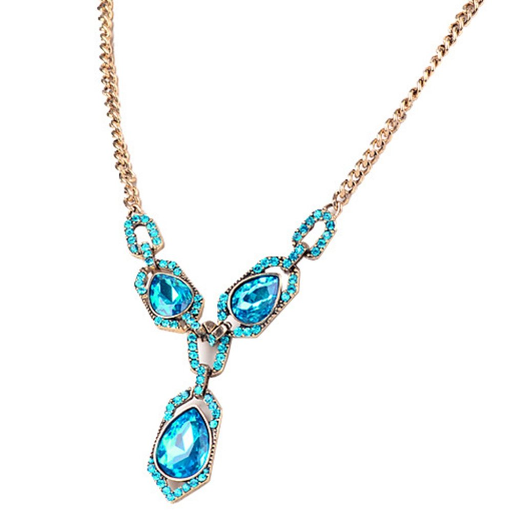 Jude Jewelers Fashion Ocean Blue Heart Shaped Vintage Crystal Statement Necklace (Blue)