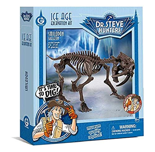 Geoworld ziowa-rudo Ice Age Animals Findings Kit Saber-Toothed Cat [Science Educational Toys Crafts Model] Ice Age Excavation Kit Smilodon Skeleton Genuine
