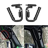 Matte Black Solid Steel Front Grab Handles GraBars For Jeep Wrangler JK JKU Sports Sahara Freedom Rubicon X & Unlimited X 2/4 door Roll Bar 2007-2016 (Grabars Style Two)