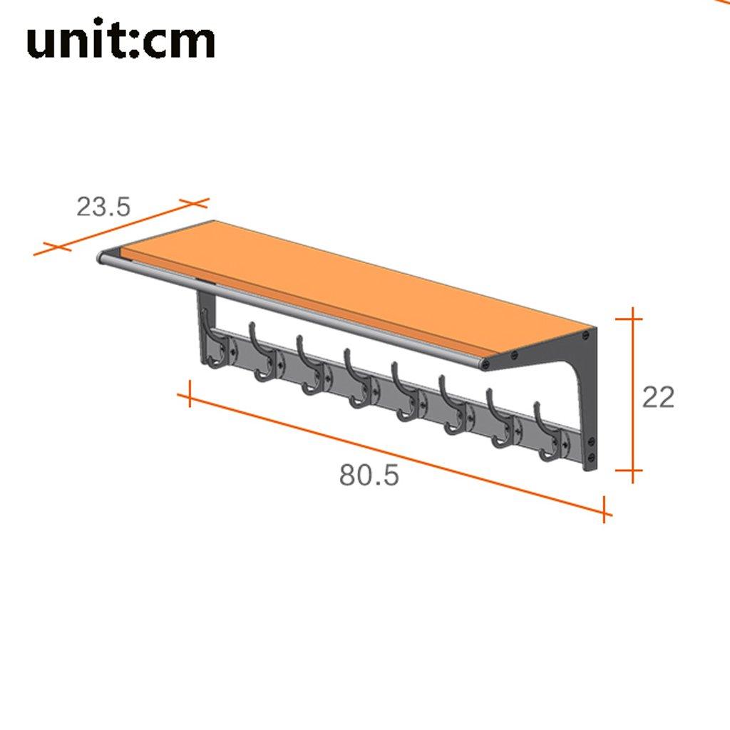80.5 * 23.5 * 22cm SKC Lighting-Porte-manteau Porte-manteaux simple et moderne porte-v/êtements multifonctionnel solide en bois crochets cintres /étag/ères murales Couleur : A