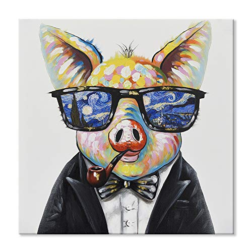 SEVEN WALL ARTS--Modern Animal Cute Smart Pig Wears Glasses with The Starry Night View Artwork for Living Room Bedroom Kids Room Ready to Hang 32 x 32 Inch (Line Art Pig)