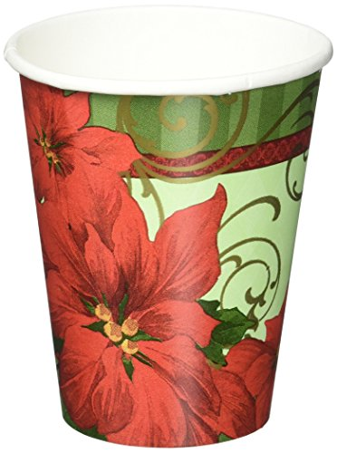 Amscan Vintage Poinsettia Paper Cups Christmas Party Disposable Drinkware (18 Pieces), Red/Green, 9 (Disposable Santa Costume)
