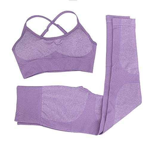 Women 2 Piece Outfits Leggings+Sports Bra Yoga Set Compression Skinny Tights Gym Fitness Yoga Pants Tummy Control Sports Trousers (Lavender, L)
