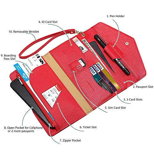 Krosslon Travel Passport Wallet for Women Rfid Wristlet Slim Family Document Holder, 11# Agate Red by KROSSLON (Image #1)