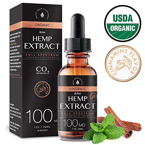 USDA Organic Hemp Oil Extract for Pain & Stress Relief (100MG), Cinnamint Flavor, Full Spectrum, Blended with Organic Hemp Seed Oil for Optimal Absorption, CO2 Cold Extracted, Kosher, Vegan, GF, 1oz