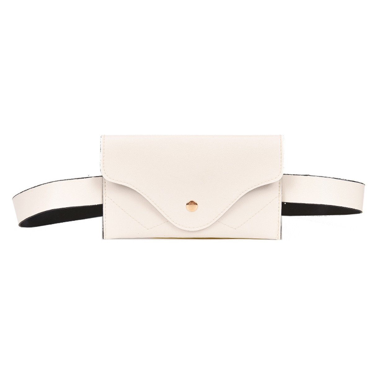 ECYC Women Fashion Waist Bag Simple Envelope Soft PU Leather Fanny Pack, White