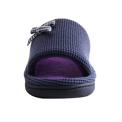 amp;KATE Open Plush Purple Heel Slipper Slipper Slipper WILLIAM Women Wide Soft Extra Toes Cozy House BYw0YdqA