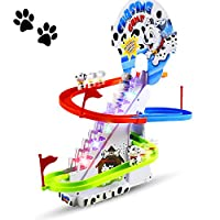 Haktoys Dalmatian Spotty Dog Chasing Game Playful Puppy Set | Upgraded Version Playful Playset with LED Flashing Lights and Music On/Off Button for Quiet Play, Safe and Durable, Gift for Toddlers&Kids