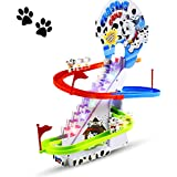 Haktoys Dalmatian Spotty Dog Chasing Game Playful Puppy Set   Upgraded Version Playful Playset with LED Flashing Lights and Music On/Off Button, Safe and Durable, Great Gift for Toddlers and Kids