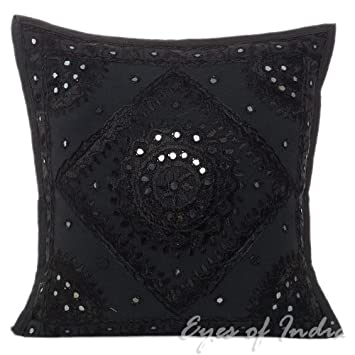 Brilliant Eyes Of India 16 Black Mirror Embroidered Colorful Sofa Couch Pillow Cushion Cover Decorative Throw Bohemian Boho Indian Machost Co Dining Chair Design Ideas Machostcouk