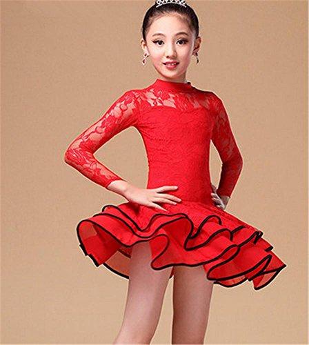 Fille de en danse latine jupe femme Red de danse robe dentelle grfgBqn