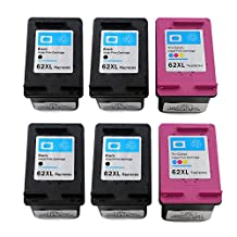 RIGHTINK 6Pack High Yield Remanufactured Ink Cartridges Replacement for HP 62XL/HP62XL for HP Envy 5643 Envy 5642 Envy 5660 Envy 7640 OfficeJet 5740 OfficeJet 5745