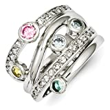 Gold and Watches Sterling Silver Multicolored CZ Ring