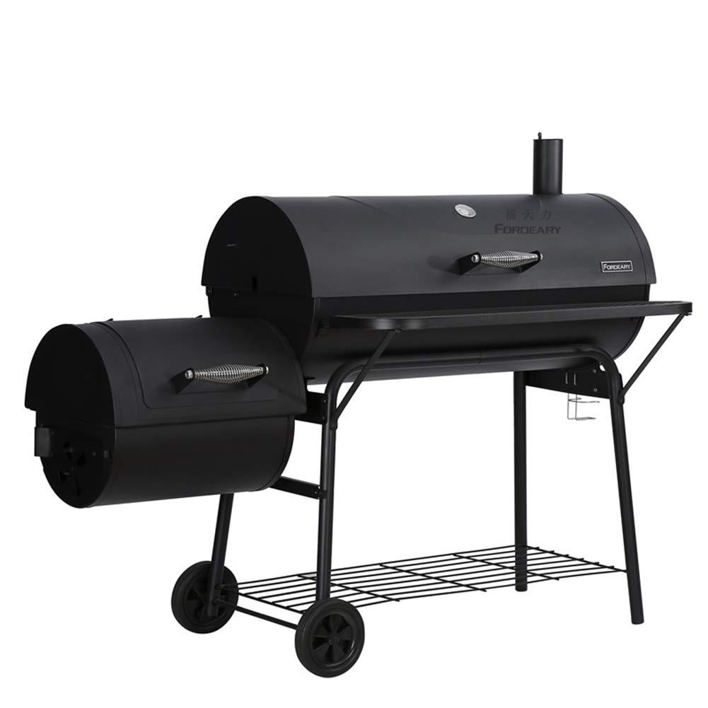 バーベキューグリル木炭バーベキューグリル屋外ピットパティオ裏庭ホーム肉炊飯器喫煙者付きオフセット喫煙者   B07R1PK7K5