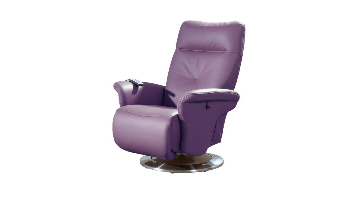 Ledersessel Merlot lila mit Rücken und Fußverstellung Tellerfuß günstig
