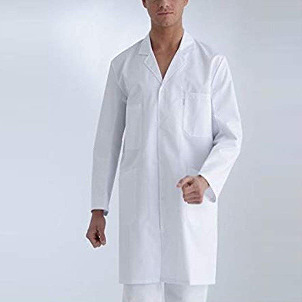 Bata de Laboratorio Bata M/édica para Mujer 100/% Algod/ón Abrigo Blanco Damas Hombres Estudiantes Escuela Enfermera Cosplay