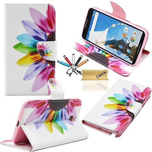 Nexus 6 Wallet Case, Dteck(TM) Slim Fashion Design Flip Premium Leather Magnetic Case [Card/Cash Slot][Kickstand] Protective Skin Cover for Motorola Google Nexus 6 (Rainbow Flower)