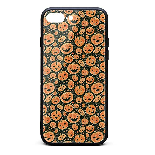 2018 Halloween Pumpkins Pattern Background Phone Case for iPhone 7 Plus, iPhone 8 Plus, Slim Protection Art Line Design Cell Phone Protective Case