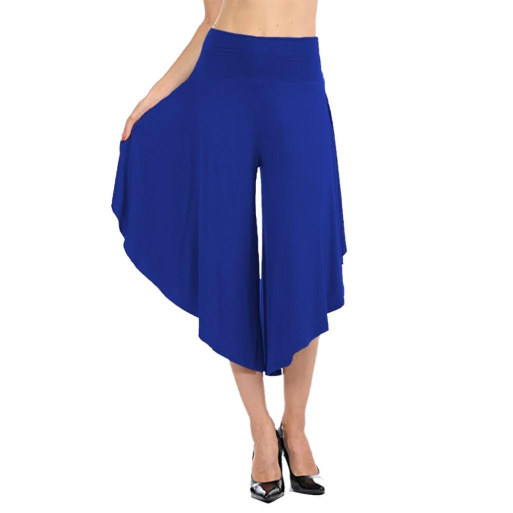 Clearance Deals Womens Trousers vermers Women's Layered Wide Leg Flowy Pants High Waist Wide Leg Capri Pants(L, Blue)