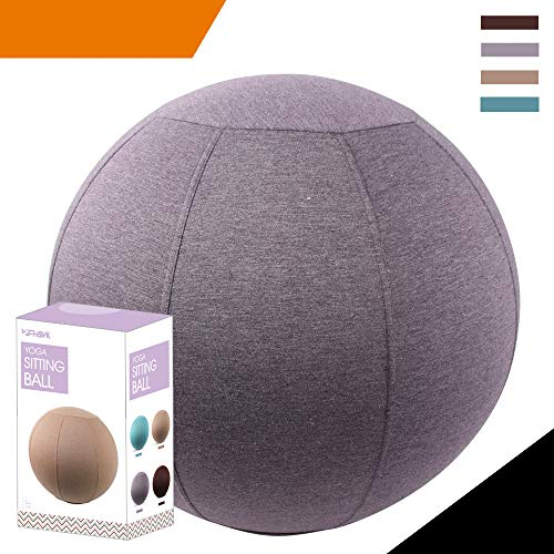 Sport Shiny Classic Balance Ball Chair,Exercise Stability Yoga Ball With Machine Washable Slipcover,Ergonomic Sitting Ball Chair for Multiple Appliances,55cm Size,English Violet,Quick Pump&Instruction