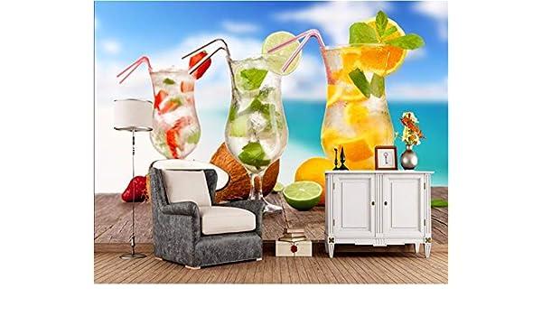 Weaeo, Coctel Naranja Fruta Cocos 3D Alimentos Wallpaper Bar Cafe ...