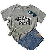 SUPEYA Womens Dog Mom V Neck T-Shirt Funny Moms Gift Short Sleeve Family