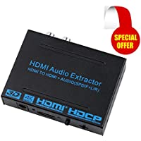 Kebidu 4K x 2K HDMI Audio Extractor Converter HDMI to HDMI and Optical TOSLINK SPDIF with 3.5mm Stereo HDMI Audio Splitter Adapter HD ARC/MHL Support 3D/1080p, Black