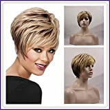 Medusa wigs Pixie Cut Bob Synthetic wigs Short Straight hair Blonde wig for women Peruca loira curta Full wigs with bangs SW0015