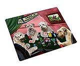 Home of Wheaten Terriers 4 Dogs Playing Poker Art Portrait Print Woven Throw Sherpa Plush Fleece Blanket (50x60 Sherpa)
