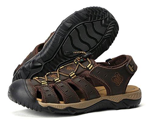 Liveinu Mens Sandals Outdoor Sport Genuine Leather Sandal Summer Deep Brown 46CQKAH