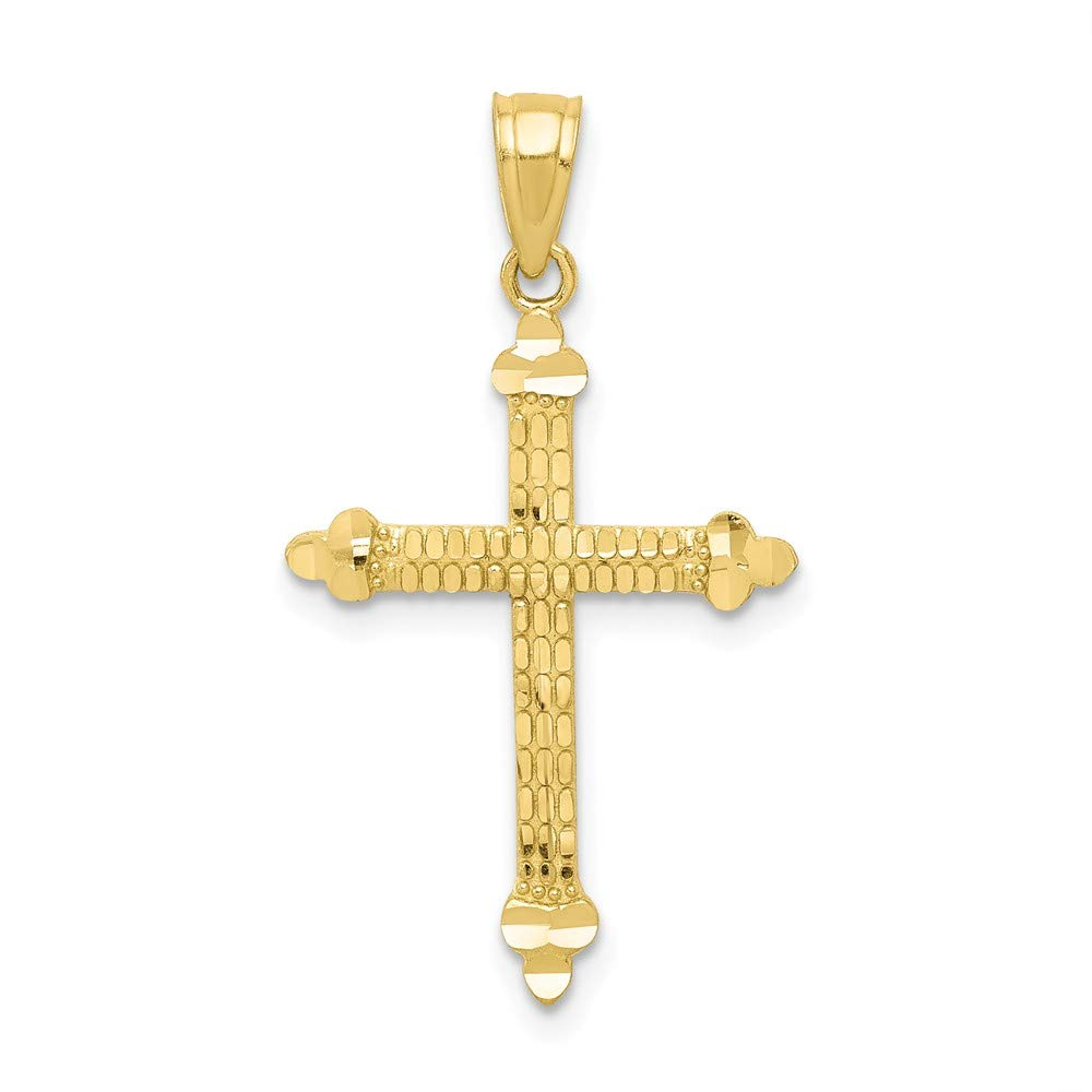 10K Yellow Gold Themed Jewelry Pendants /& Charms Solid 16 mm 28 mm Budded Cross Pendant