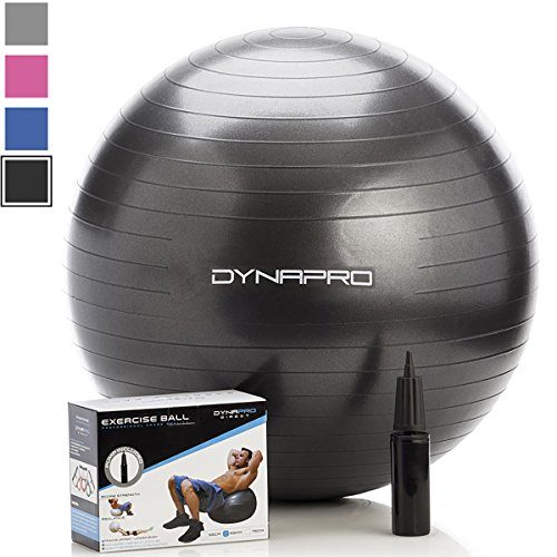 Exercise Ball with Pump, GYM QUALITY Fitness Ball by DynaPro Direct. More colors and sizes available aka Yoga