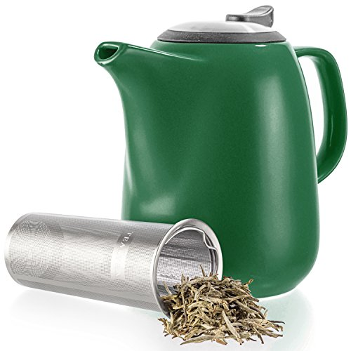 Tealyra - Daze Ceramic Large Teapot Green - 47-ounce (6-7 cups) - With Stainless Steel Lid Extra-Fine Infuser for Loose Leaf Tea - 1400ml