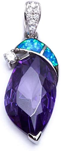 Lab Created Blue Opal .925 Sterling Silver Simulated Amethyst /& Cz Pendant 1.25 long
