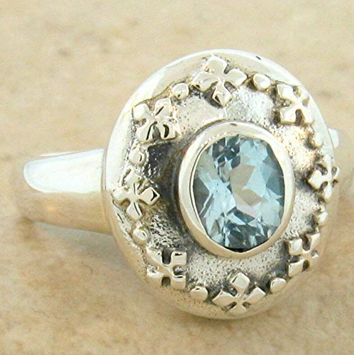 Genuine Blue Topaz .925 Sterling Silver Antique Style Ring Size 8.75 KN-4111