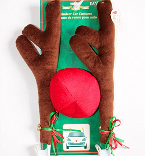 Christmas Car Antlers Decoration,Mystic Xmas Festive Accessory Reindeer Antlers and Red Nose Car Costume with Jingle Bell (Festive Costume)