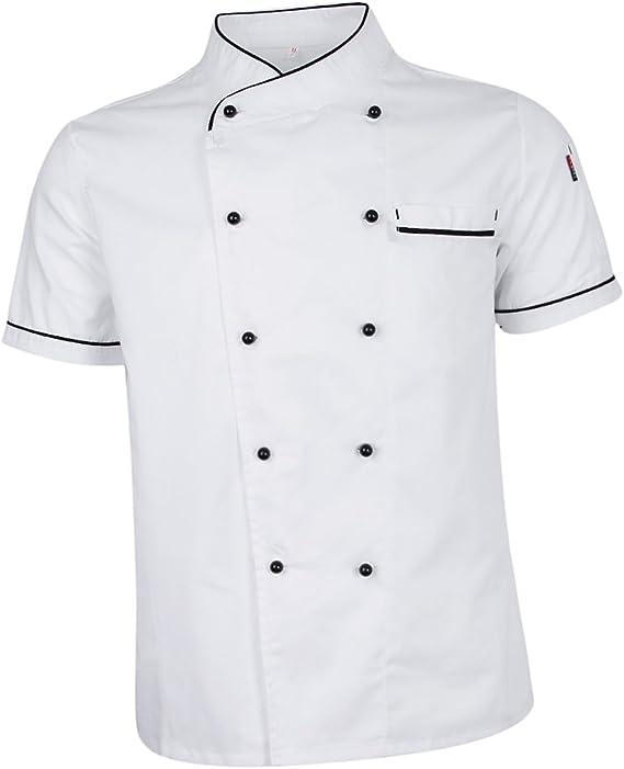non-brand Sharplace Chaqueta de Chef Ejecutivo Repostera Pastelería Camisa de Cocinero Cocina Uniforme Manga Corta: Amazon.es: Ropa y accesorios