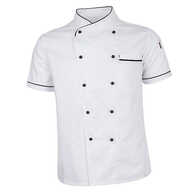 Abbigliamento da lavoro e divise Abbigliamento MagiDeal Unisex T-shirt Giacca Cappotto Top Uniforme da Cuoco Chef Estate