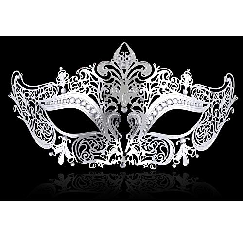 FaceWood Masquerade Mask for Women Ultralight Gorgeous Gold & Silver Shiny Metal Rhinestone Mask. (Kitty Silver)]()