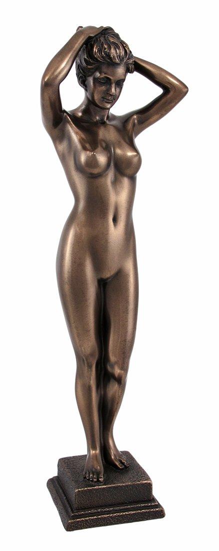 Bronzed Finish Standing Nude Woman Statue Figure Erotic Art