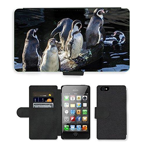 Just Phone Cases PU Leather Flip Custodia Protettiva Case Cover per // M00127529 Pingouins de Humboldt Ailes Fun Oiseau // Apple iPhone 4 4S 4G