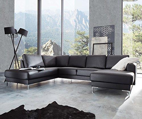 Couch Silas Schwarz 300x200 cm Ottomane Links Designer Wohnlandschaft