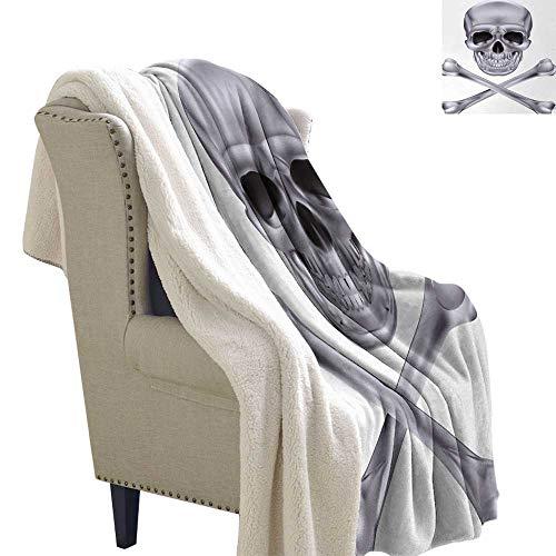 Jinguizi Silver Light Thermal Blanket Vivid Skull and Crossbones Dangerous Scary Dead Skeleton Evil Face Halloween Theme Throw Blanket 60x78 Inch Dimgray -