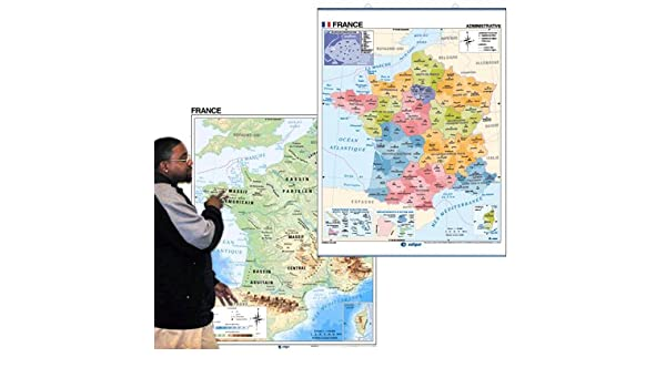Map Of France New Regions.Amazon Com Two Sided Essential Classroom Map Of France With Updated