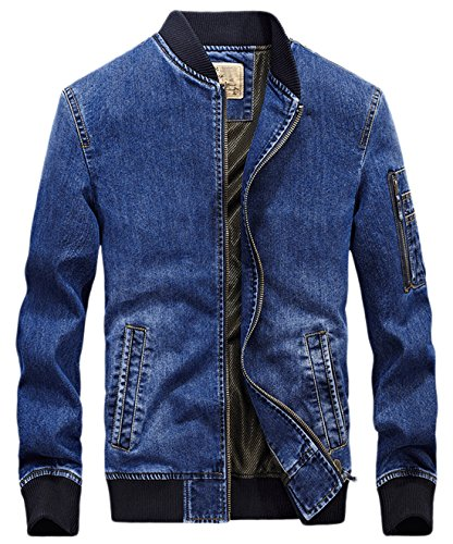 Chouyatou Men's Active Zipper-Front Lightweight Denim Varsity Jacket Embroidery (X-Large, Blue) - Denim Varsity Jacket