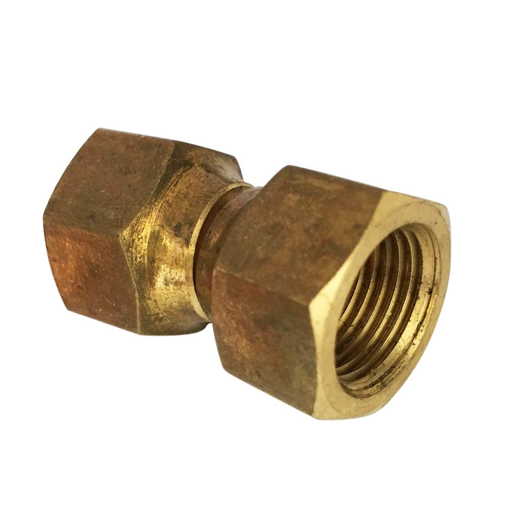 3//8 Flared Brass Forged Swivel Nut Union Valve Connector 3//8 Flare x 3//8 Flare SAE 45 Degree Flare Tube Fitting 5pcs