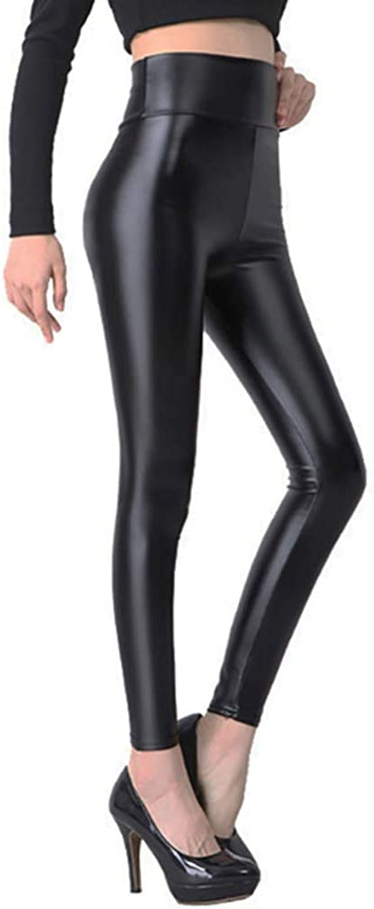 RieKet Womens Sexy Black Leggings,High Waisted Stretchy Faux Leather Pants
