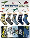 Tiny Captain Boy Dinosaur Socks 4-7 Year Old Boys Crew Cotton Sock Perfect Age 5 Gift Set (Medium, Green And Grey)